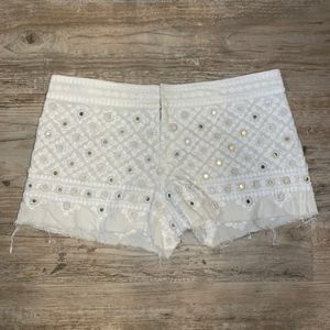 Free People Embroidered Linen Shorts
